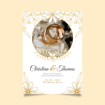 黄金の結婚指輪の招待状で日付を保存