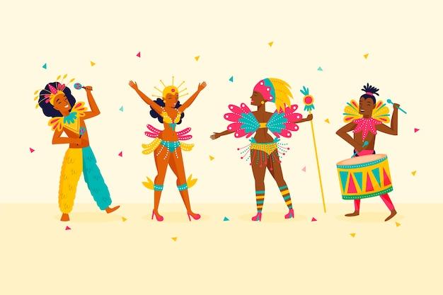 Бразильские танцоры карнавала и блестки конфетти