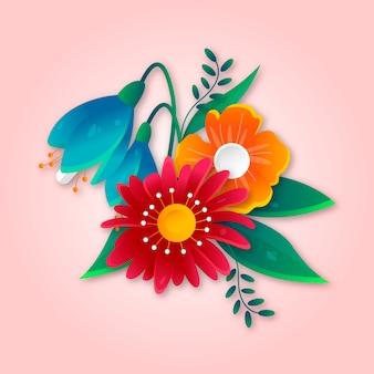 Градиент весенний бумажный стиль цветы