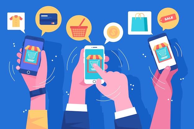 ソーシャルメディアマーケティングの携帯電話の図