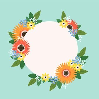 カラフルなフラットスプリング花のフレーム