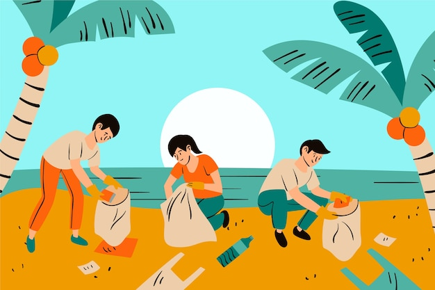 ビーチを掃除する人々のグループ