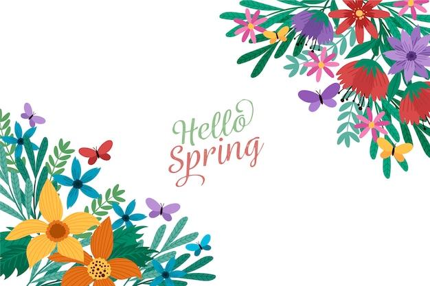 Плоский весенний фон с цветами