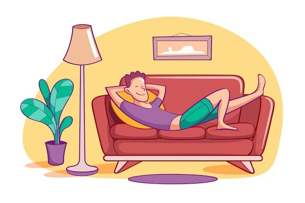 Человек, расслабляющий на дому иллюстрации концепции