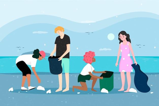 ビーチを掃除する人々