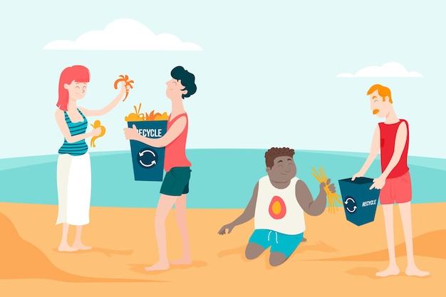 日光の下で砂浜を掃除する人々