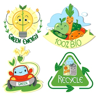 手描きデザインエコロジーバッジ