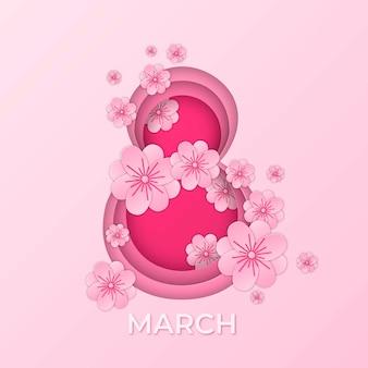Женский день с розовой восьмеркой в бумажном стиле