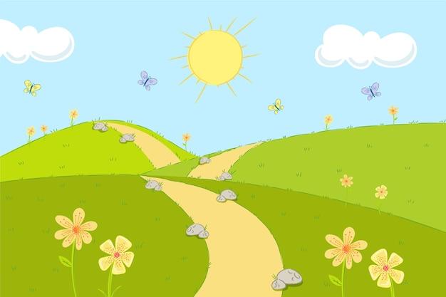 手描きの太陽と春の風景