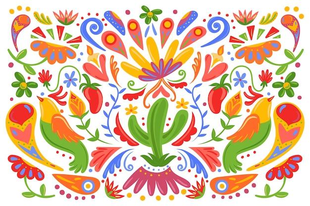 フラットなデザインのメキシコのカラフルな背景