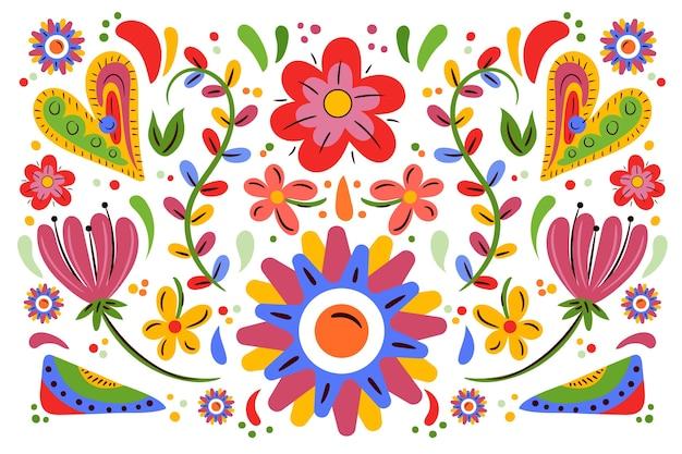 フラットスタイルのカラフルなメキシコの背景