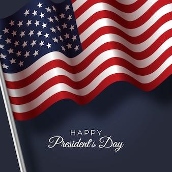 Президентский день с реалистичным стилем флага