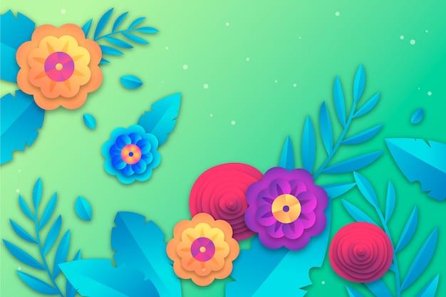 Весенний фон в стиле красочной бумаги с цветами