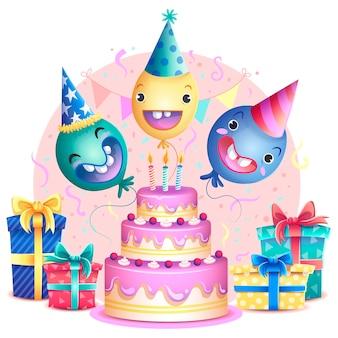 風船の概念とカラフルな誕生日ケーキ