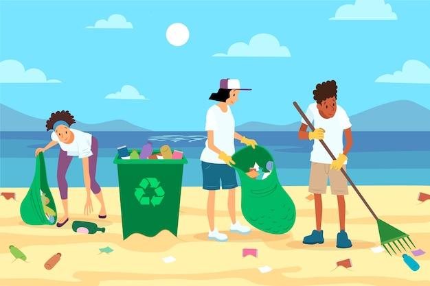 夏のビーチでの清掃