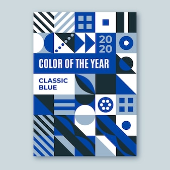 Абстрактные классические синие фигуры постер