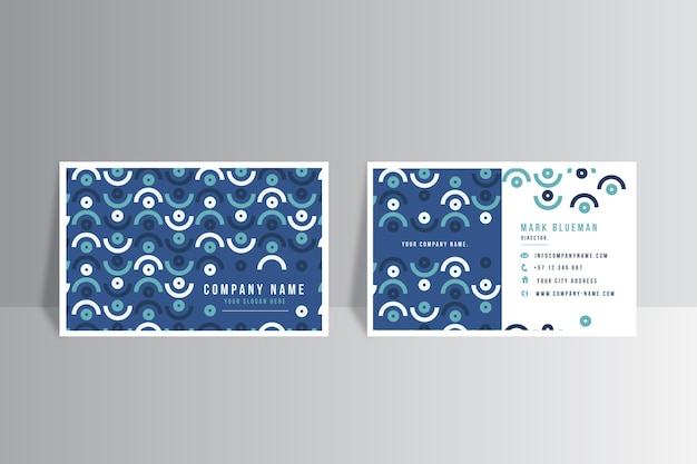抽象的な古典的な青い形の名刺テンプレート