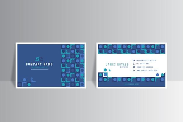 抽象的なクラシックブルーデザインの会社カードテンプレート