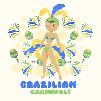 手描きのブラジルのカーニバルダンサー