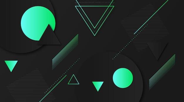 グラデーションの緑の図形と暗い背景