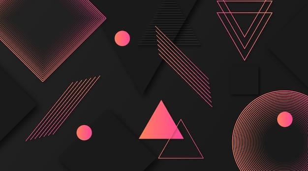 グラデーションのピンクの図形と暗い背景