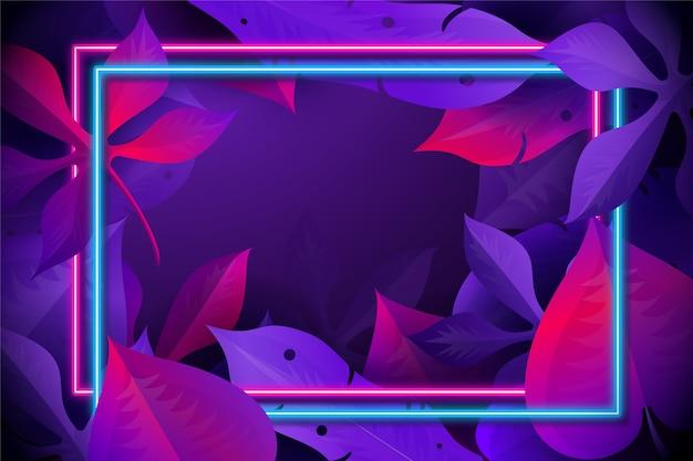 ネオンフレームと現実的な葉