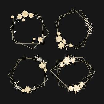 Золотые многоугольные рамы с элегантными цветами