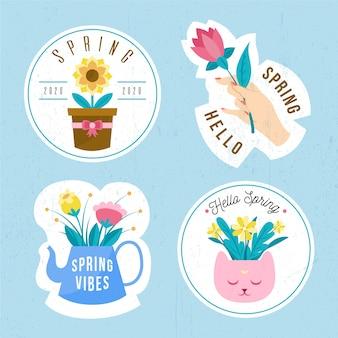 フラットなデザインの春バッジコレクション