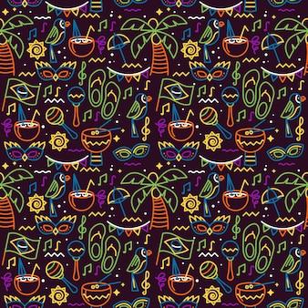 Тапочки и пальмы бесшовные карнавальные
