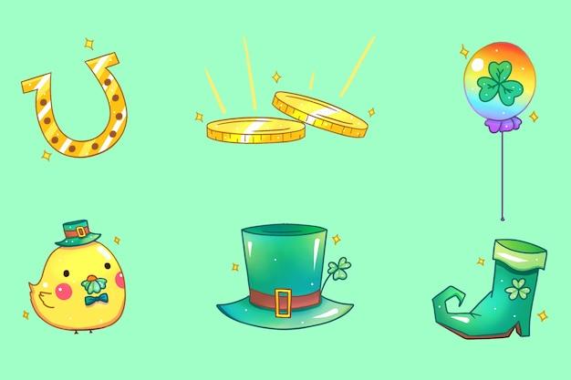 Золотые и зеленые элементы ул. день патрика