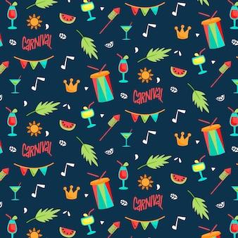 Барабаны и листья карнавальные бесшовные