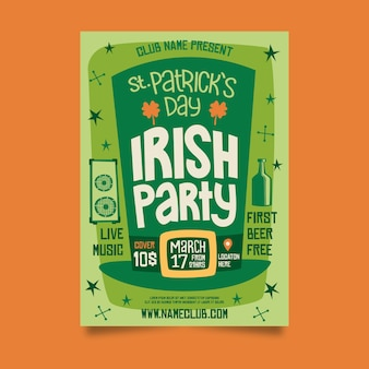 Плакат ирландской вечеринки ко дню св. патрика