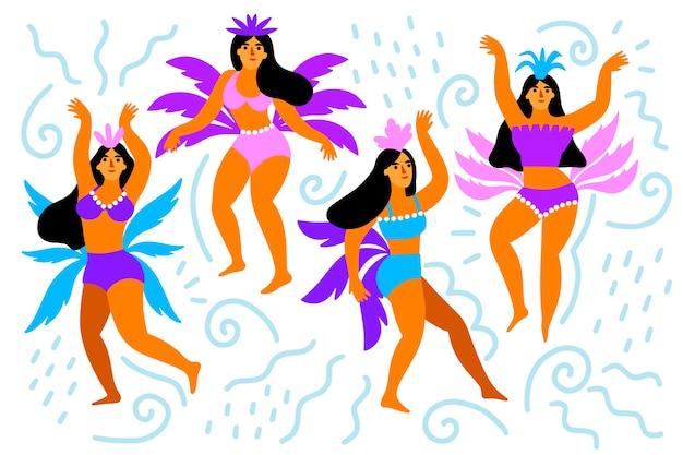 Бразильские карнавальные танцоры на разных позициях