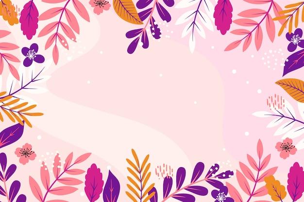 Весенние листья плоский дизайн копия пространства кадр фон