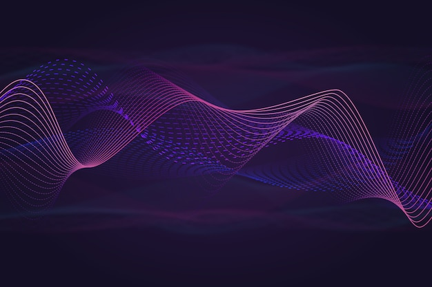 カラフルな煙効果と音楽音の波背景