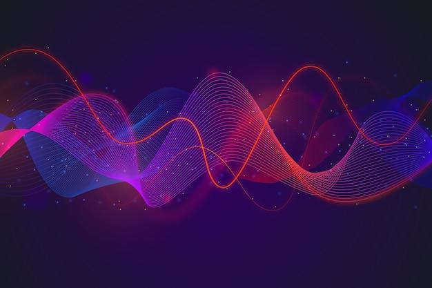 グラデーションの赤と青のイコライザー波背景