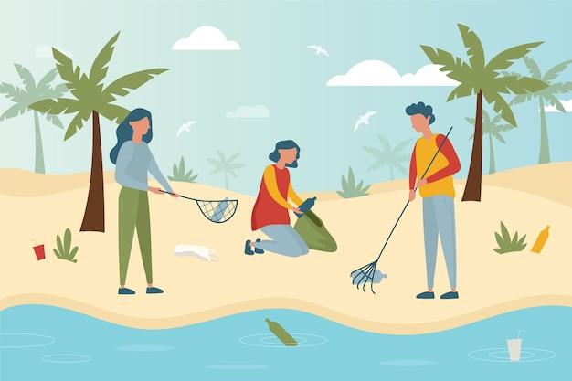 ビーチの清掃人のカラフルなイラスト
