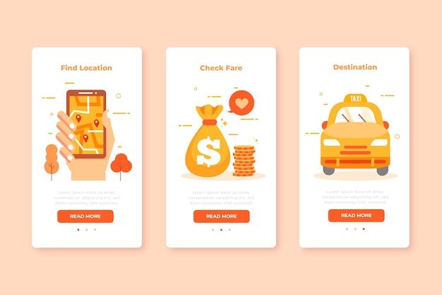 Бортовые экраны приложений для набора услуг такси