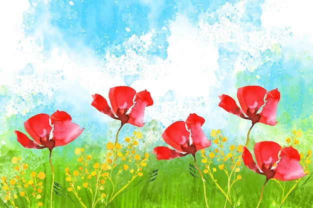 水彩の美しい春の風景