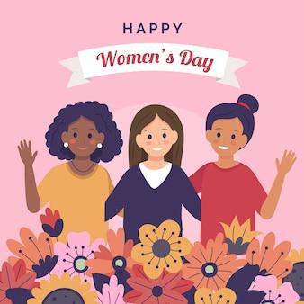 花で幸せな女性の日
