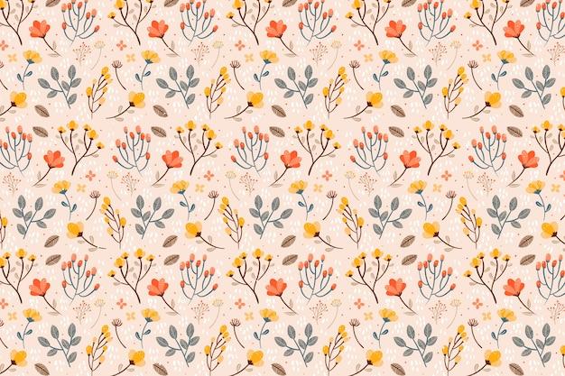 さまざまな花のシームレスなパターン印刷の背景