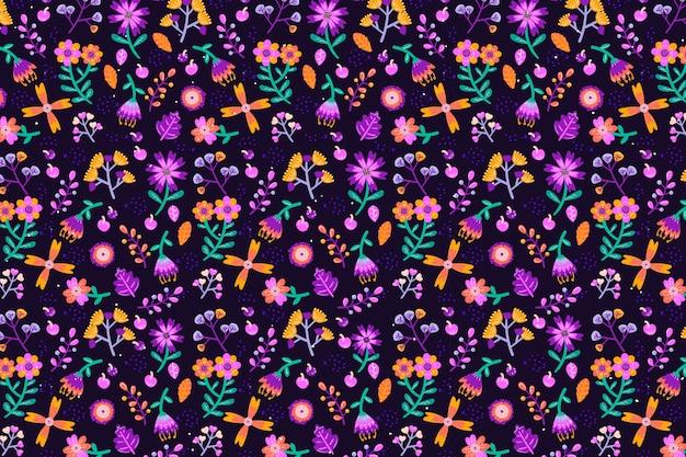 さまざまな花のシームレスな印刷背景