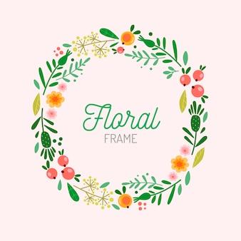 フラットなデザインの春の花のフレームと種子