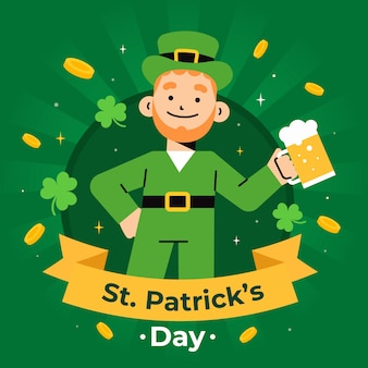 聖パトリックの日のビールとフラットデザインレプラコーン