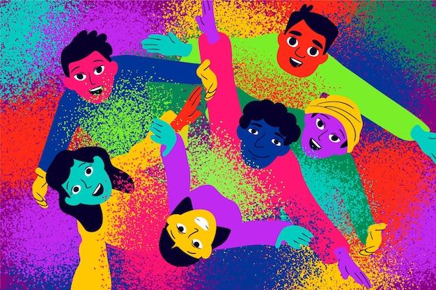ホーリー祭トップビューを祝う人々