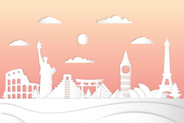 グラデーションピンクの空と紙のスタイルでランドマークスカイライン