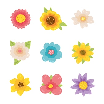 Ручной обращается коллекция красочных цветов весной