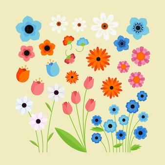 Плоский дизайн коллекции весенних красочных цветов