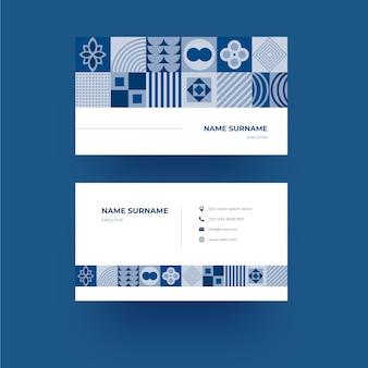 抽象的な古典的な青い図形デザインの名刺テンプレート
