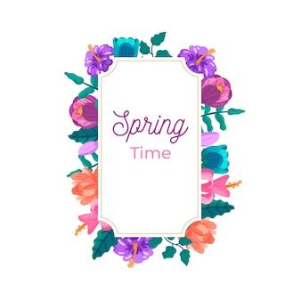 Плоская весенняя цветочная рамка с цветами